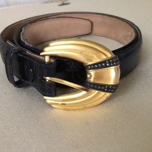 Judith Jack Leather & Gold Tone/Marcasite Buckle